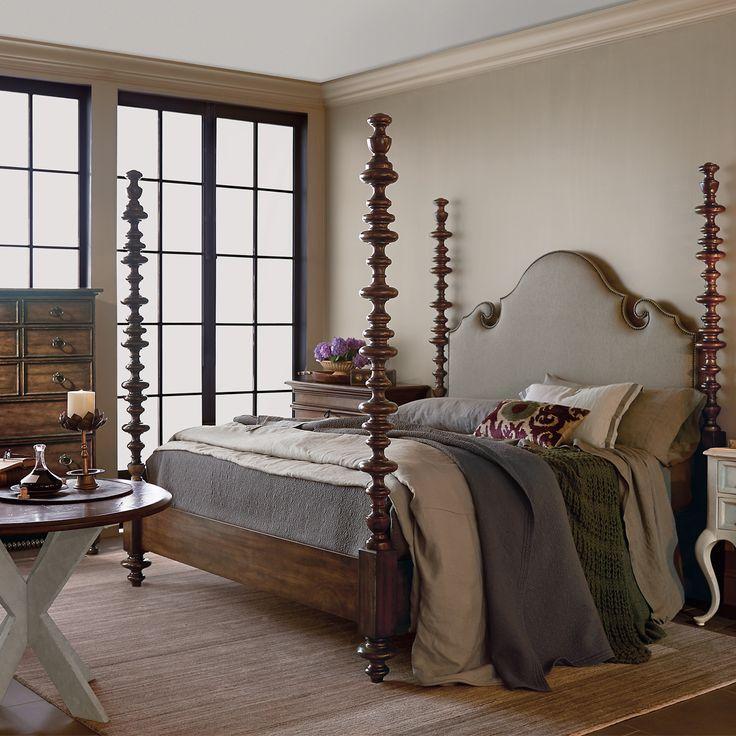 Bernhardt Vestige Upholstered Poster Bedroom Set In Allspice Headboard And  Footboard Convert To Lower Version