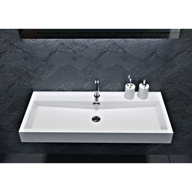 Autre Lavabo ceramique simple vasque blanc a poser 100 cm 1 bac salle de bain