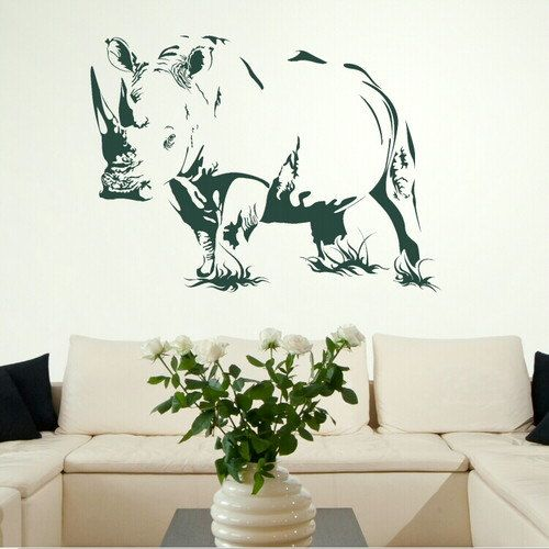 Rhino Animal Kitchen Wall Stickers / Wall Decals / Wall Art Murals Large Big  UK AN14