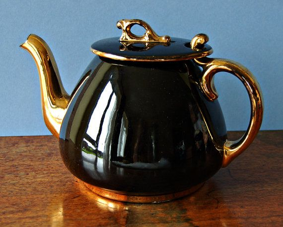 1950s Black and gold lustreware teapot by nancyplage on Etsy, £16.00