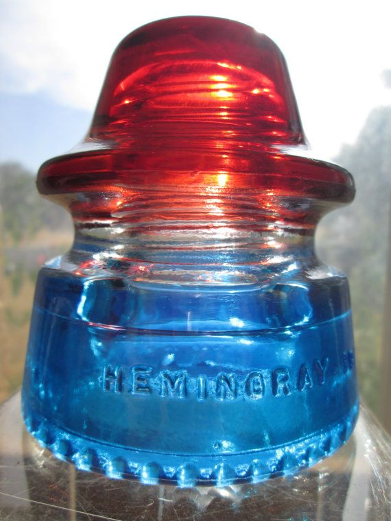 Beautiful Hemingray 19 Red White & Blue Glass Insulator Colored or Stained CD 163