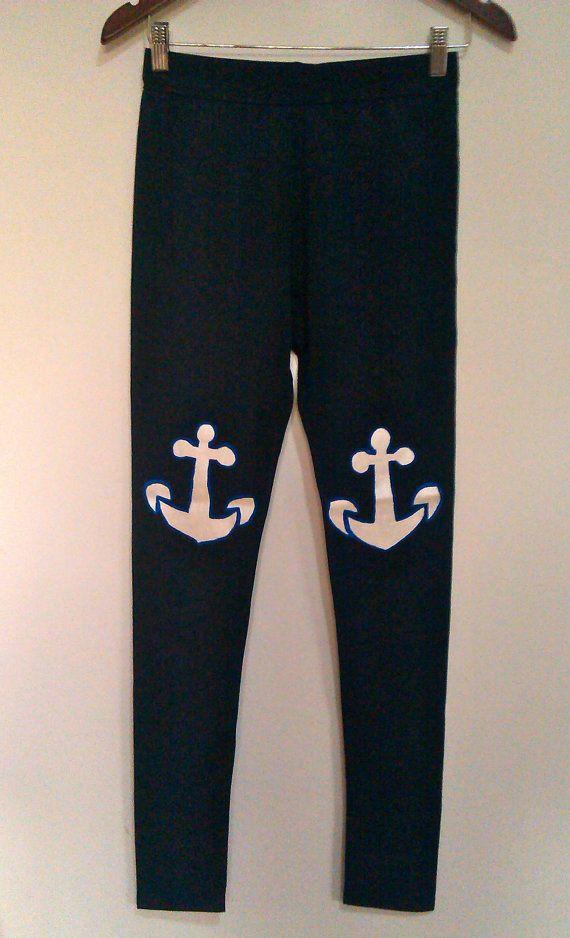 Blue anchor leggings  Handmade cotton leggings  by COOLLeggings