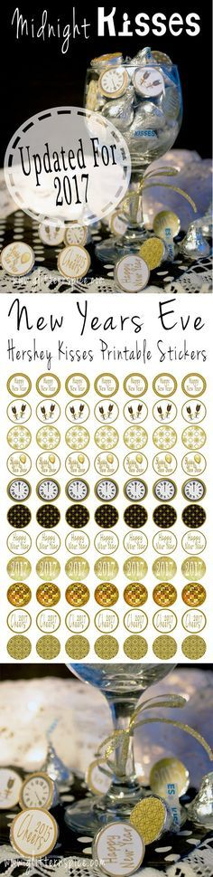 2017 New Years Eve Hershey Midnight Kisses And Printable Stickers
