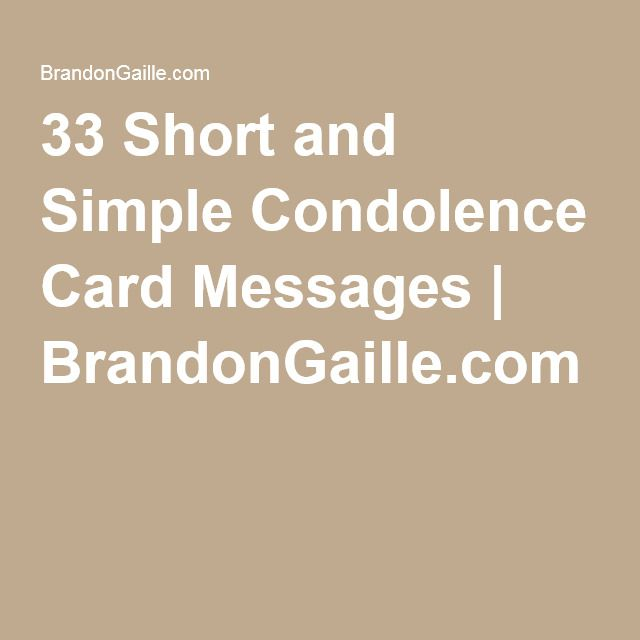 35 Short and Simple Condolence Card Messages   Condolence ...