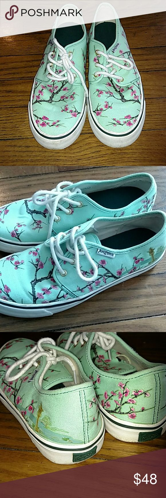 Arizona Tea brand cherry blossom sneakers!!!!! Sea foam green with pink cherry blossoms! Authentic Arizona sneakers. Gold eyelets, white laces. BRAND NEW. A little dirt in the bottoms from trying on. They are womens size 6.5, mens 5, but I think they fit more like a  women's 7. Shoes Sneakers