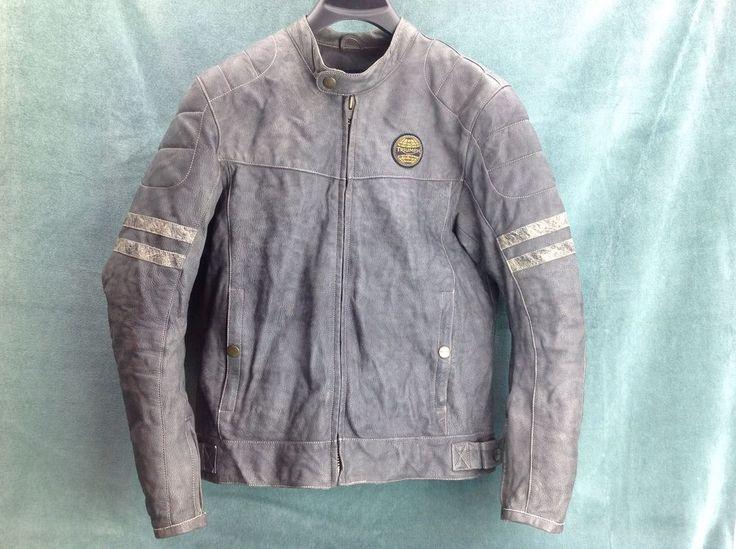 Men's Gray Leather Triumph Motorcycle Jacket size 42/52 Excellent Condition #Triumph