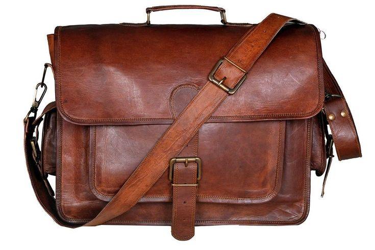 """Vintage Handmade Leather Messenger Bag for Laptop Briefcase Satchel Bag 16"""" New #Handmadecraft #MessengerShoulderBag"""