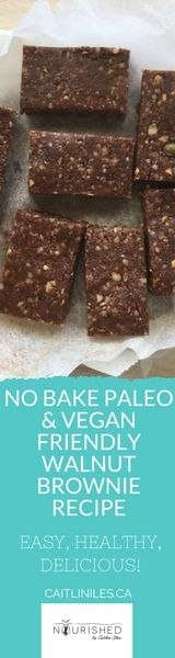 No Bake Healthy Paleo Vegan Walnut Brownie Recipe  These brownies combine the caramel deliciousness of dates with walnuts, nut butter, & raw cacao to create a decadent, delicious, & super easy to make treat!