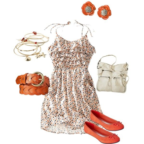 orange confetti spring look #teen #tween #fashion via #target