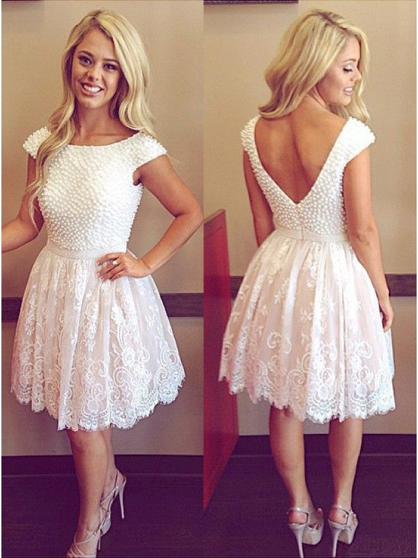 Pearl Open Back Short White Homecoming Dresses Short Prom Dresses #SIMIBridal #homecomingdresses