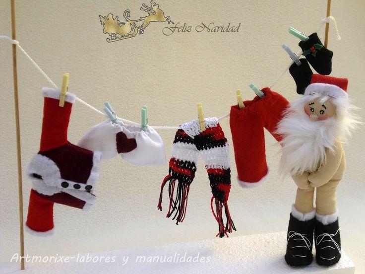 Navidad, Navidad, dulce Navidad.....uyyy que parece que Papa Noel este año aún no está preparado!!! Que mal!!, todavía tiene la ropa tendid...