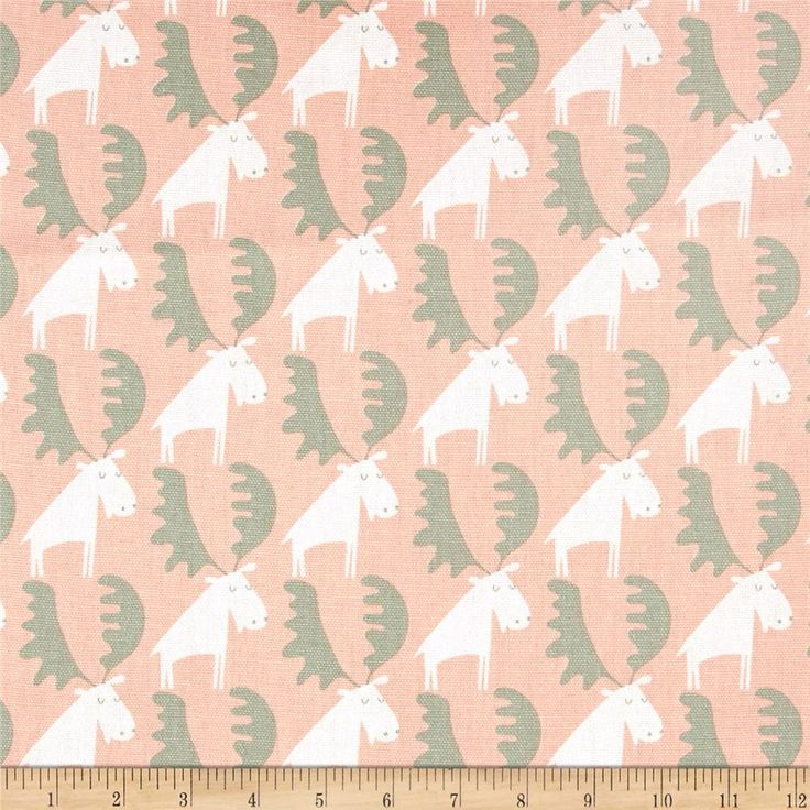 Moose Tracks Sundown from @fabricdotcom  Screen printed on cotton duck, this versatile, lightweight fabric is perfect for window accents (draperies, valances, curtains and swags), accent pillows, duvet covers and other home decor accents. Create handbags, tote bags, aprons and more. Colors include white, peachy pink and sage green.