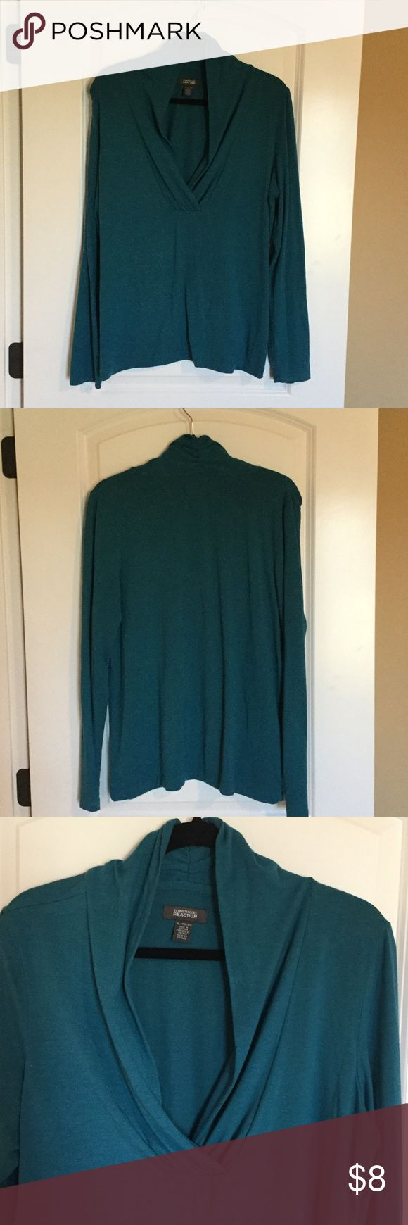 Kenneth Cole reaction knit top long sleeve Pretty dark green long sleeve top features a lovely crossover neck line. Kenneth Cole reaction. Kenneth Cole Reaction Tops Tees - Long Sleeve