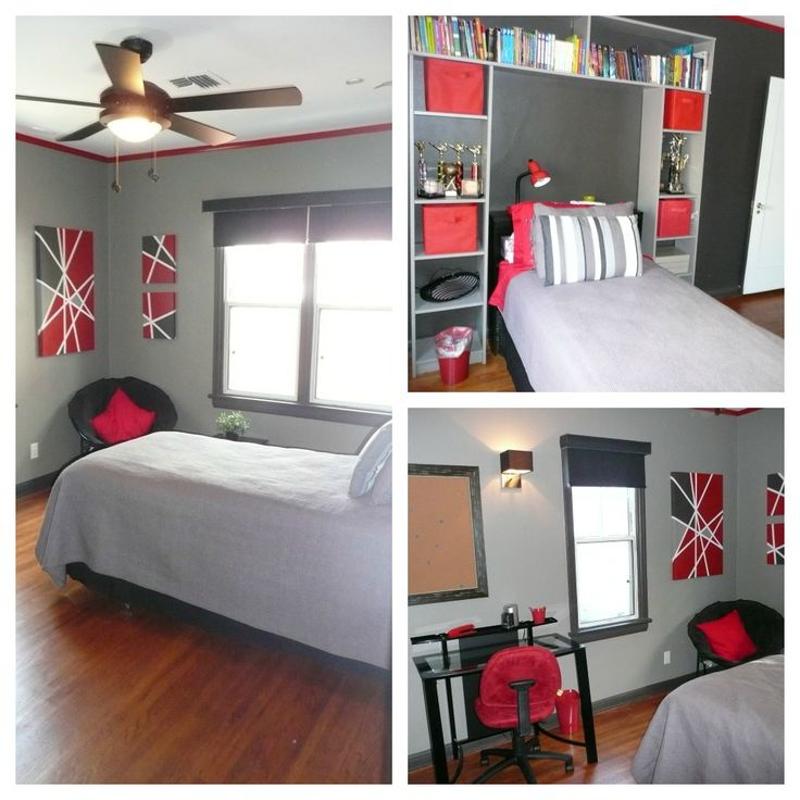 Red black and Grey Teen Bedroom.  Trim and accent wall:  Behr Dark Cavern.  Main walls:  Behr Creek Bend.  Custom artwork.