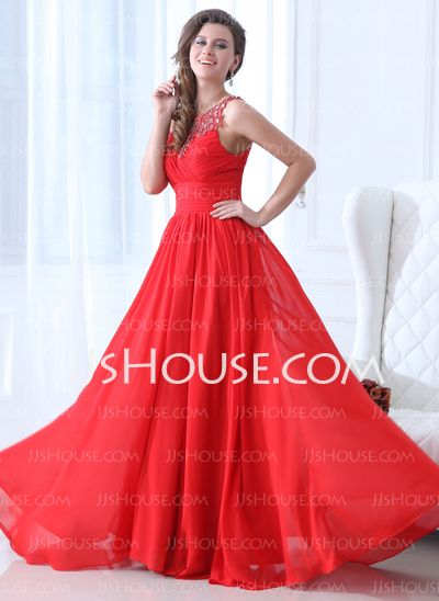 Holiday Dresses - $149.99 - A-Line/Princess Scoop Neck Floor-Length Chiffon Holiday Dresses With Ruffle Beading (020017361) http://jjshouse.com/A-Line-Princess-Scoop-Neck-Floor-Length-Chiffon-Holiday-Dresses-With-Ruffle-Beading-020017361-g17361
