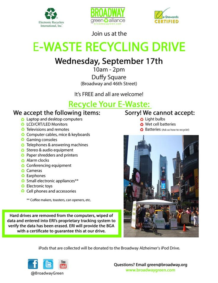 Come to our E-waste Drive on Sept 17th!