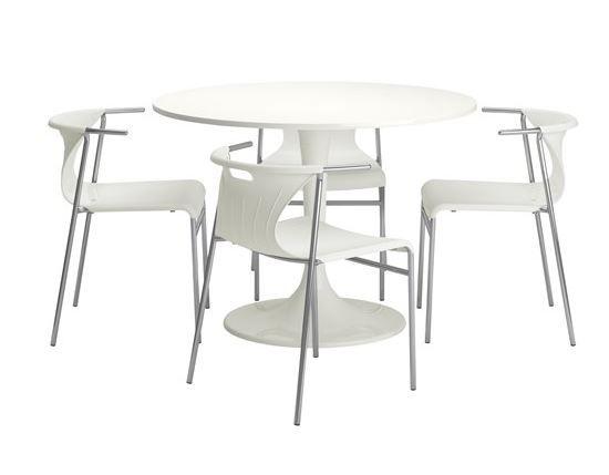 ikea beyaz yuvarlak yemek masasi ve sandalye modeli 2015