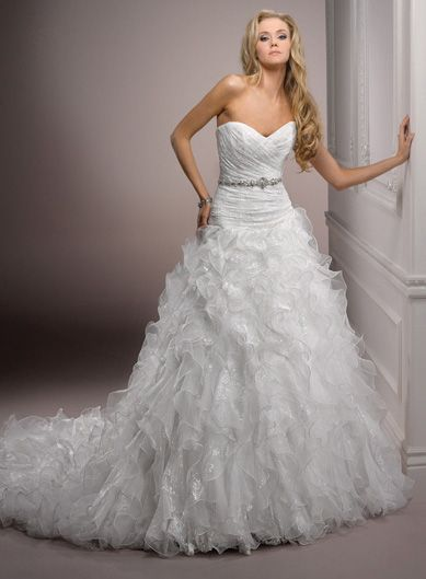 Maggie Sottero Spring 2012 - Ivory Lace on Organza Strapless Ruched & Ruffled Drop Waist Lillith Wedding Gown - 0 - 28