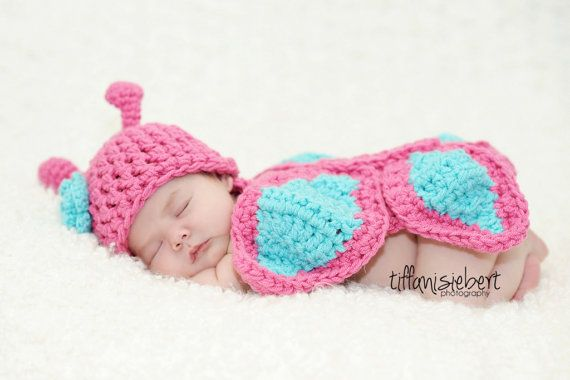 Free Crochet Pattern For Butterfly Baby Blanket : Butterfly Hat and Cuddle Cape Set in Newborn Size- MADE TO ...