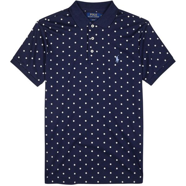 Polo Ralph Lauren Polka-dot Pima Cotton Polo Shirt - Size S ($115) ❤ liked on Polyvore featuring men's fashion, men's clothing, men's shirts, men's polos, mens polka dot shirt, mens slim fit shirts, polo ralph lauren mens shirts, mens slim fit polo shirts and mens embroidered shirts