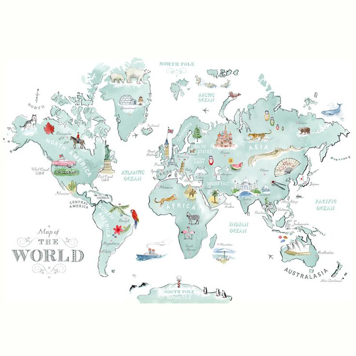 Image of Illustrated World Map - alice tait