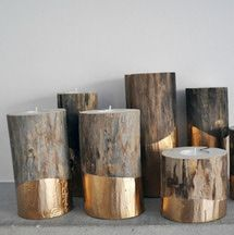 Love these gold-dipped logs turned into candleholders. PLUS 11 MORE DIY Candle Holders for Entertaining