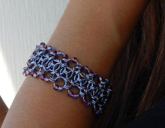 Purple Bracelet, Steampunk Jewelry, Chainmail Bracelet, Renaissance Jewelry, Medieval Jewelry, Gypsy Jewelry, Unique Jewelry, Victorian