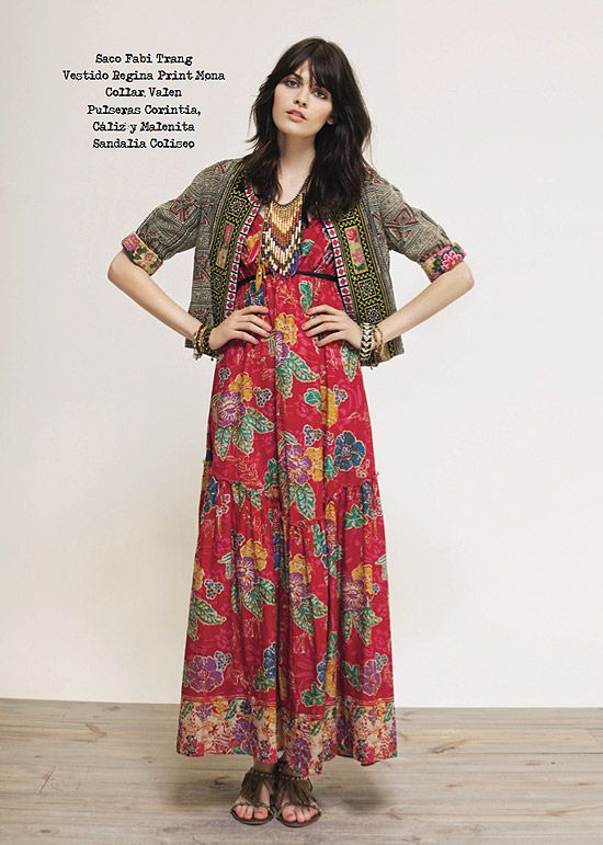 Beautiful red floral maxi paired with a Eastern inspired jacket & fringed sandals. Boho threads for fall.