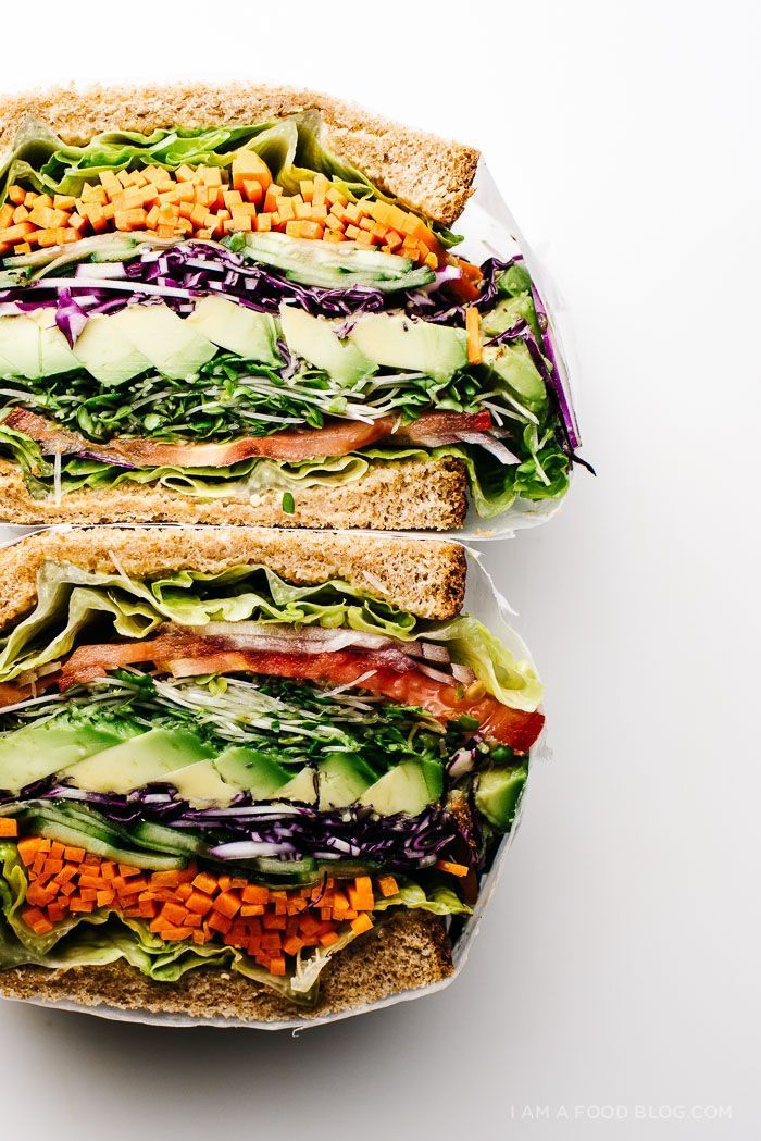The ultimate veggie sandwich -- loaded with vegetables, and so colorful! | iamafoodblog.com