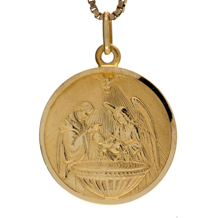 Detailed 18K yellow gold religious disc pendant. Well-made with excellent detailing of a baptism scene and a nice weight by designer UnoAErre. This would be the perfect gift for someone you love.