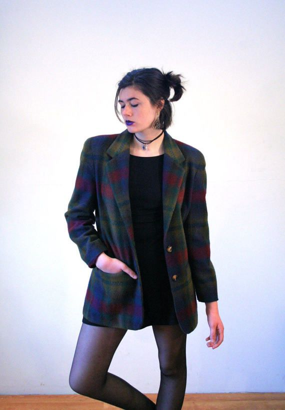 Marta, 80s Shadow Plaid Blazer, Olive Green Plaid Jacket, Soft Wool Plaid Blazer, Olive & Burgundy Blazer, Vintage Plaid Blazer M