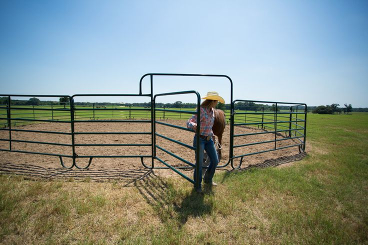 """Available in 10' and 12' panel lengths, this Economy Walk Thru panel includes a 6' wide """"walk thru"""" gate to provide easy access to arenas, paddocks, and more."""