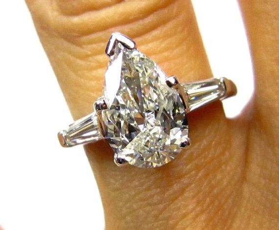 1.88ct Estate Vintage Solitaire PEAR Shaped and Baguettes Diamond Engagement, Anniversary Platinum Ring EGL USA Certified