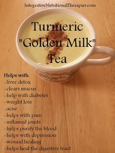 """2 cups of coconut milk - (You can also use almond milk) 1 tsp (and you can work up to 1 TBL) of coconut oil. This adds more good saturated fats and anti-viral, anti-bacterial and anti-fungal properties 1.5 tsp turmeric 1 tsp cinnamon 1 tsp nutmeg 1"""" piece of fresh peeled and sliced ginger or ½ tsp ginger powder 1 tsp of grade b maple syrup or honey to taste a sprinkle of black pepper. Blend everything then to stove 3-5 mins"""