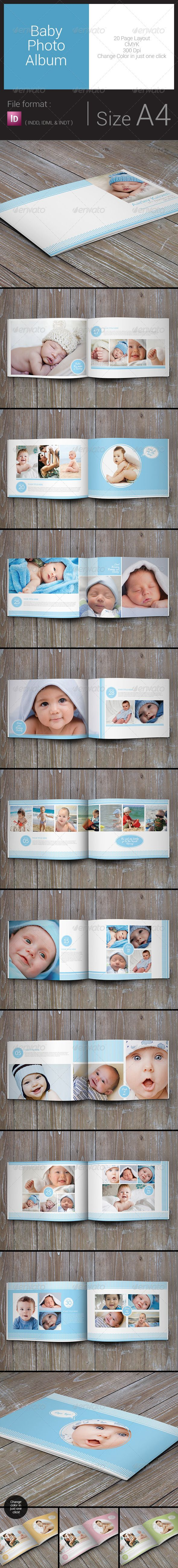 Baby Photo Album - Print Templates Download here: https://graphicriver.net/item/baby-photo-album/7988762?ref=classicdesignp