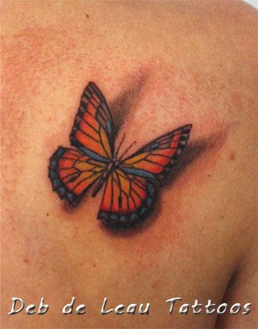 Butterfly shadow tattoo, realistic, 3D, vlinder met schaduw tattoo, vlinder kleur, color butterfly, tatoeages, Deb de Leau Tattoos