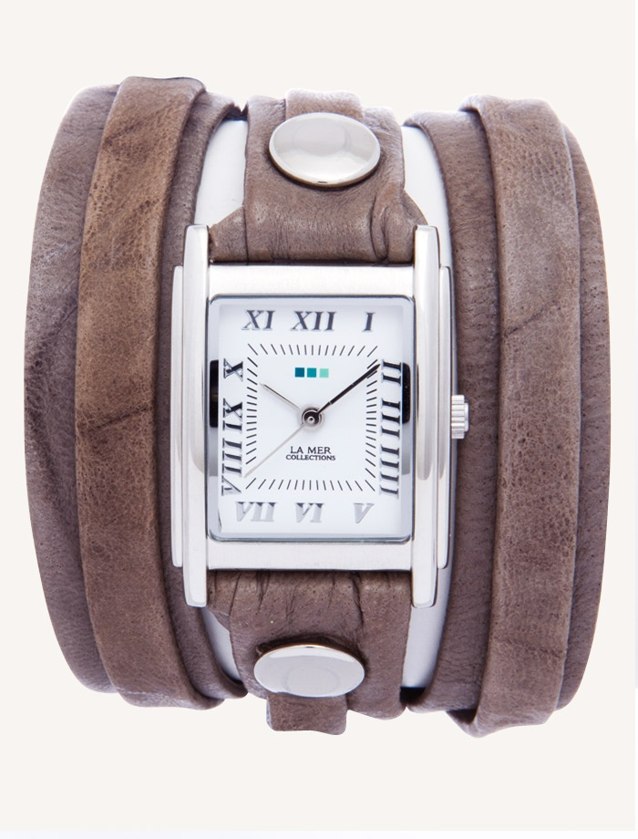 La Mer Watches: Grey Washed Layer Wrap