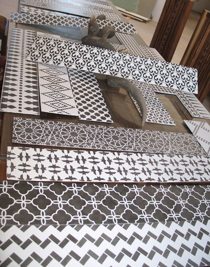 stencilled floor risers: easy to change and will completely alter the look of stairs