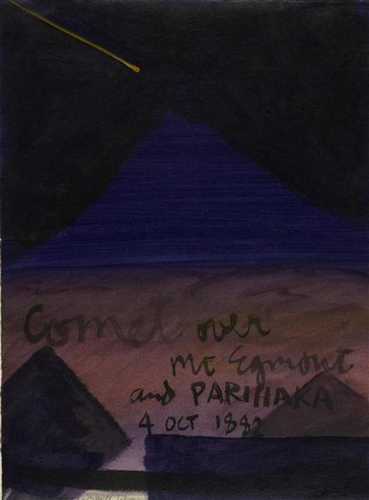 Comet over Mt Taranaki and Parihaka - Museum of New Zealand Te Papa Tongarewa
