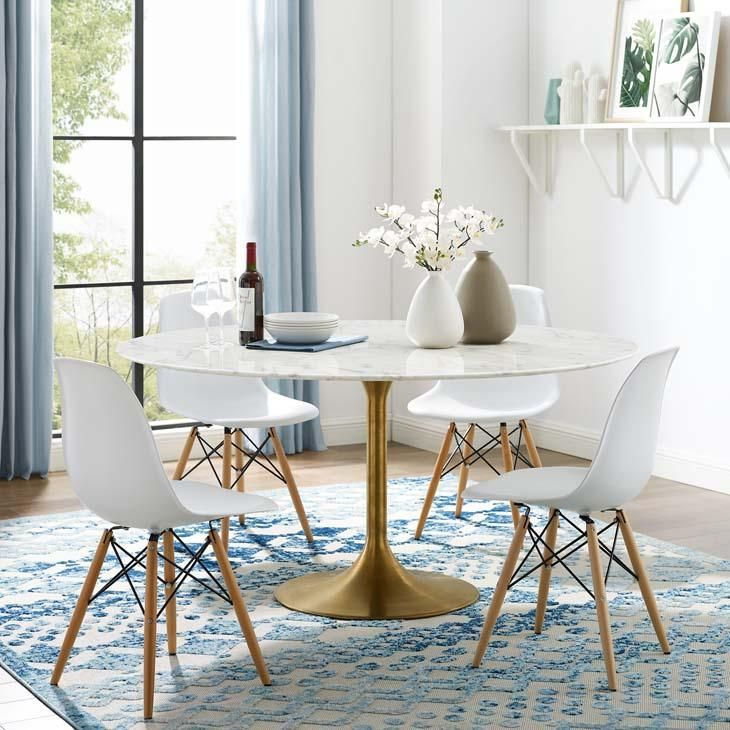 Gold Marble Dining Table Tulip Style