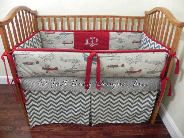 Custom Baby Bedding Set Dalton -  Boy Baby Bedding, Airplane Crib Bedding, Vintage Airplanes Gray Denim Chevron by BabyBeddingbyJBD on Etsy https://www.etsy.com/listing/154065343/custom-baby-bedding-set-dalton-boy-baby