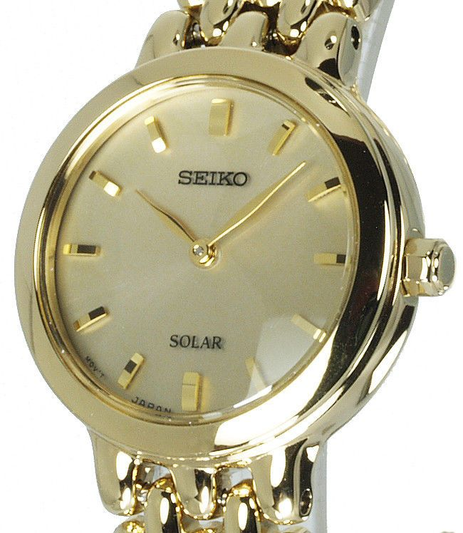 Ladies SEIKO SOLAR CHAMPAGNE FACE With GOLD TONE STEEL