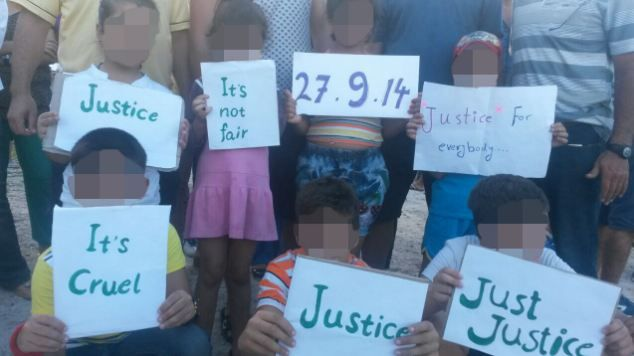 Children protesting against at the Nauru detention centre against the plan to send Australian refugees to Cambodia