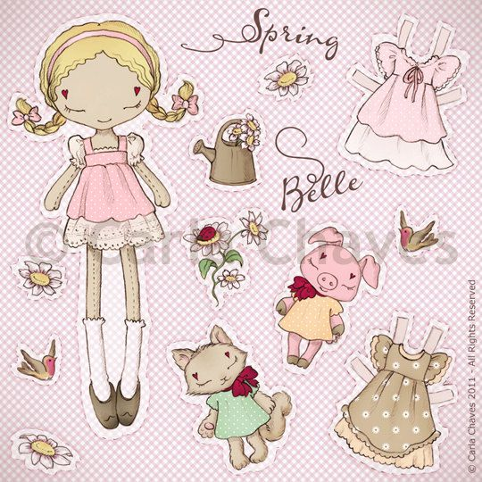 Spring Belle paper doll by ribonitachocolat on Etsy, $12.00