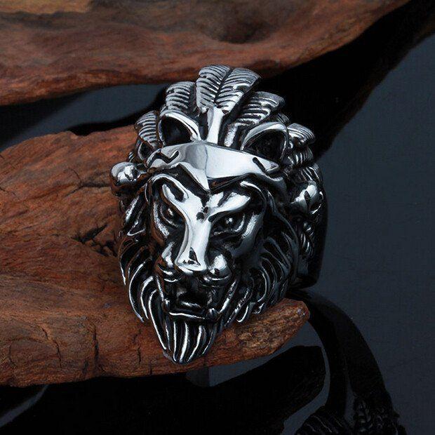 Titanium Steel Lion Head Ring - Biker Ring - Biker Jewelry