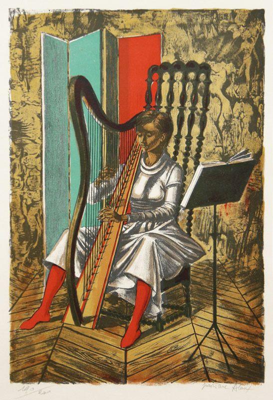 Joueuse de harpe par Jean Pierre Alaux.