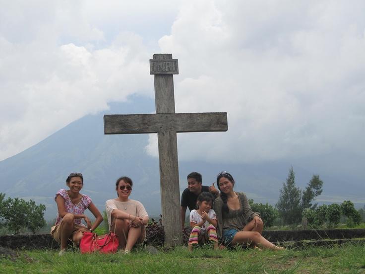At Cagsawa Ruins, Bicol Province. View of Mt. Mayon.
