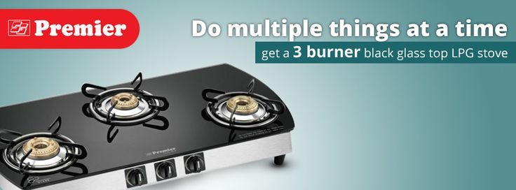 Do multiple things at a time, get 3 burner black glass top LPG stove