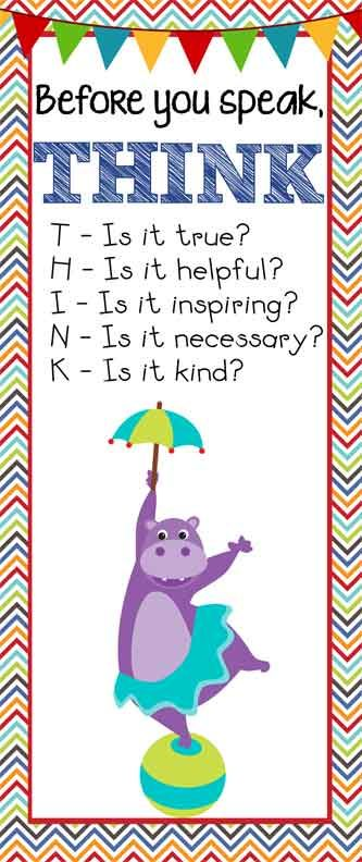 Circus Theme Classroom Decor/ Character Education Banner / Large / Before You Speak ... THINK / JPEG / ARTrageous FUN