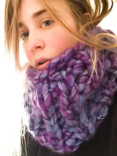 Chunky Knit Purple Cowl by SoTwisticated